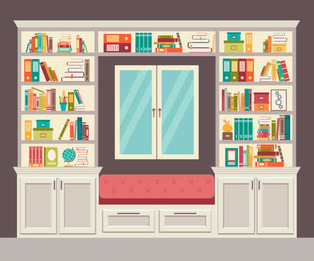 interior window: The window seat and wall of books for the home office. Stylish and modern interior. Vector illustration