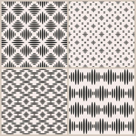 Vector set of four seamless patterns. Repeating geometric background with ovals and rhombus. Monochrome simple pattern