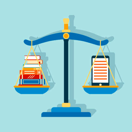 Smartphone e-book and stack of paper books at the scales. Vector illustration