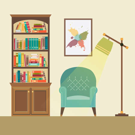 lamp vector: Reading nook in living space with blue armchair, floor lamp and abstract picture. Vector illustration Illustration