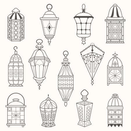 lantern: Set of old lamps. Lantern vector dark silhouettes. Ramadan Kareem Arabic Lanterns Illustration