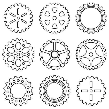 gear wheel: Silhouette of mechanical Cogs and Gear Wheel Set. Vector illustration Illustration
