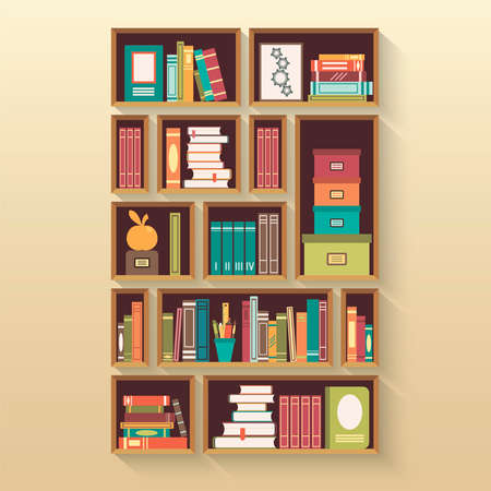 bookcases: Shelves with colorful books in flat design style.