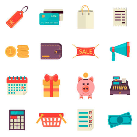 sale icons: Set of flat sale and shopping icons.  Vector set of shopping elements, retail store service, shopping goods, buying product