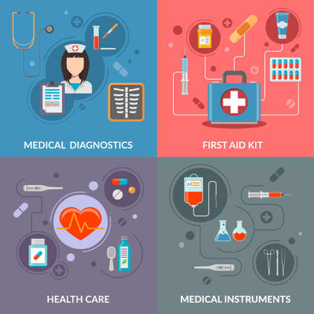 first aid kit: Set of medical care vector concepts. Healthcare, medical instruments, first aid kit and medicine illustration