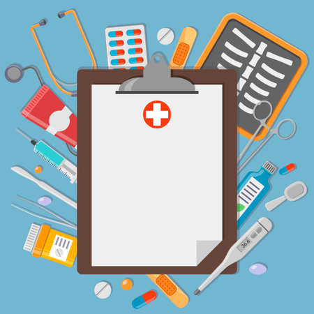 medical syringe: Clipboard with medical elements. Healthcare and medicine illustration