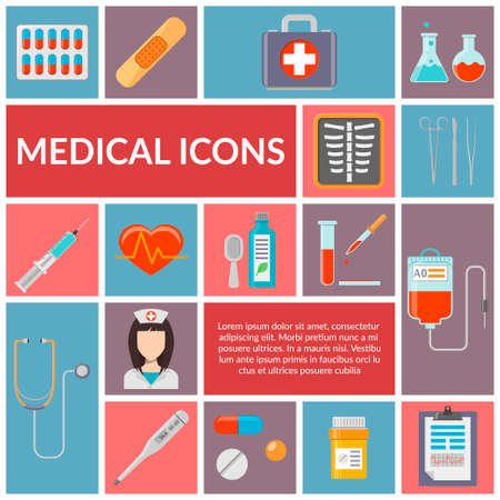 pills: Set of medical flat design vector icons. Healthcare and medicine illustration