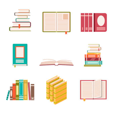 literature: Set of nine book icons in flat design style. Literature and library, education and science, knowledge and study