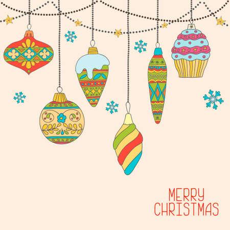 taper: Vector Christmas decorations. Hand drawn tree balls