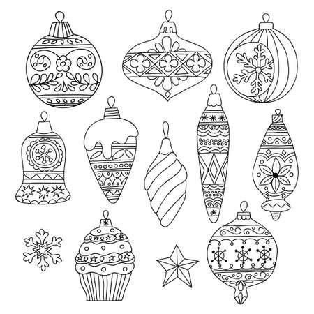 taper: Set of hand drawn monochrome Christmas tree balls