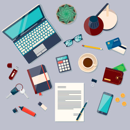 office objects: Workplace concept. Flat design modern vector illustration. Top view of desk background with laptop, digital devices, office objects, books and documents
