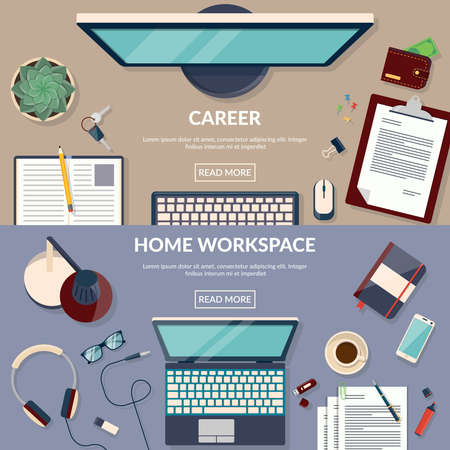 Set of flat design vector illustration concepts for business, finance and career. Freelance design concept set with working from home
