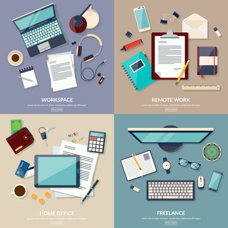 workspace: Set of 2x2 banners of home workspace. Freelance design concept set with working from home. Flat design vector illustration
