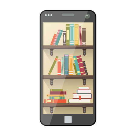 e book device: Online mobile library in flat style. Digital online books on shelf for internet course. Mobile education apps