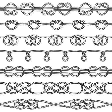 Set of rope knots. Decorative seamless elements. Vector illustration Vectores