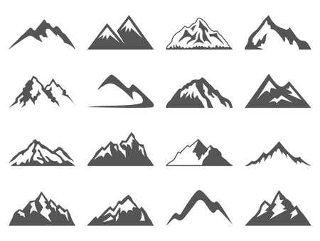 Zestaw szesnastu kształtów wektorowych górskich do loga. Camping Mountain logo, etykiety podróży, wspinaczki i wędrówek odznaczenia
