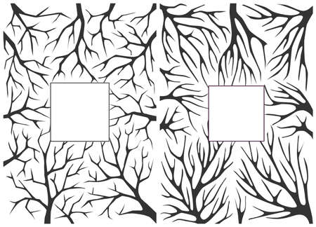 Monochrome black and white background with tree branches. Background for greeting cards, invitations and other seasonal holidays