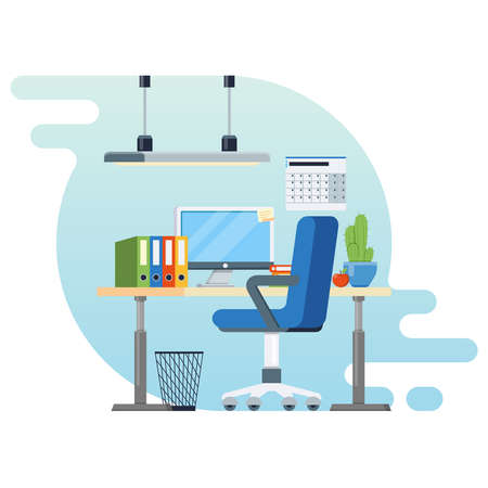 calendar design: Concept of workplace with computer and office equipment.