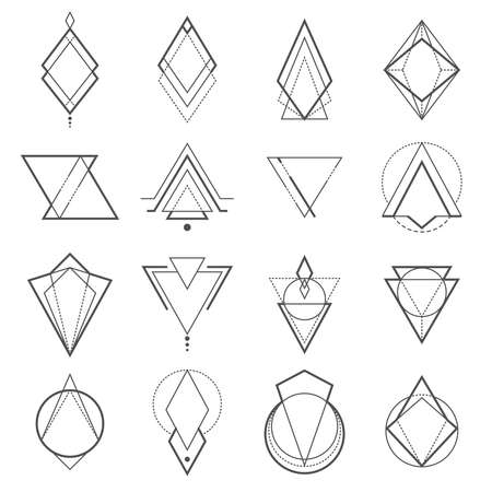 Set of minimalistic geometric elements. Geometry symbols collection. Vector illustration Çizim