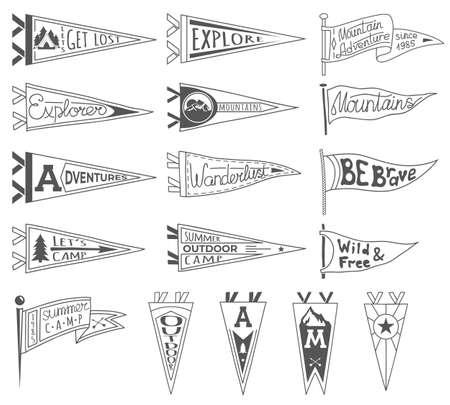 冒険、アウトドア、キャンプペナントのセット。レトロなモノクロラベル。手描きのワンダーラストスタイル。ペナント旅行旗のデザイン。ベクト