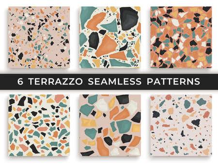 Sei modelli di terrazzo senza soluzione di continuità. Pattern ripetuti a mano e unici vettoriali ripetendo sfondo. Forme strutturate di granito in colori vivaci Vettoriali