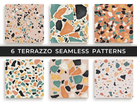 Six seamless terrazzo patterns. Hand crafted and unique patterns vector repeating background. Granite textured shapes in vibrant colors