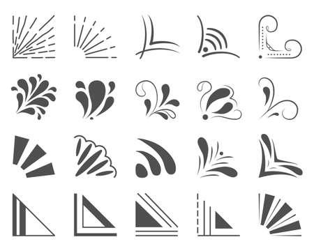 Set of 20 hand drawn corners and design elements. Hand drawn corner set. Vector illustration Vektorové ilustrace