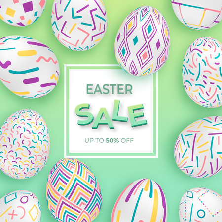 Easter background with 3d ornate eggs on green with square frame. Cute vector easter banner or greeting card