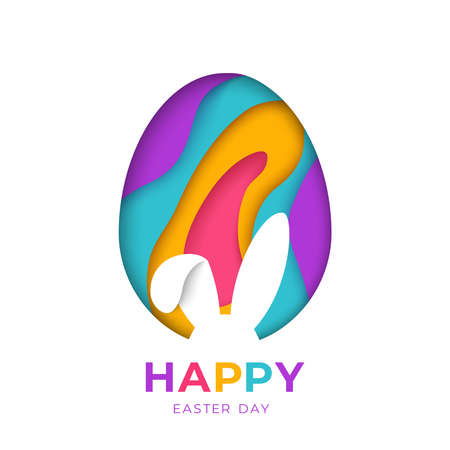 Happy Easter greeting card with abstract paper cut shapes on white background with bunny rabbit shape. Colorful 3D carving art, rabbit and egg signs.