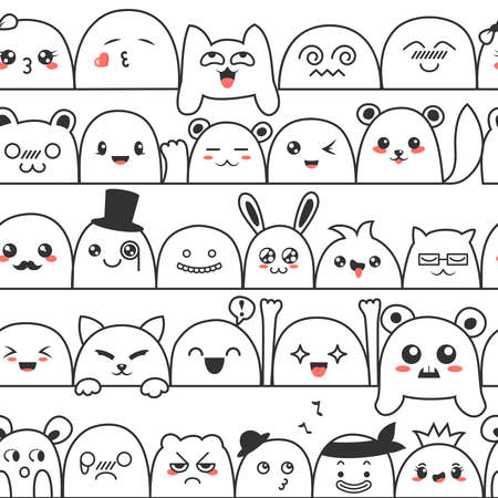 Seamless pattern with cute lovely  monsters and animals. Doodle cartoon clouds with faces in manga style. Cute emoticon emoji hand drawn characters. Emotion smile cartoon Vector illustration.