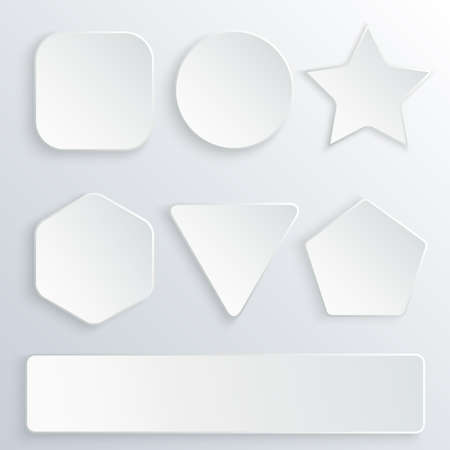 Set of 3d paper buttons in various shapes. White vector buttons on gray background. Round, square, star, hexagon, rectangle, triangle, pentagon banners Illustration