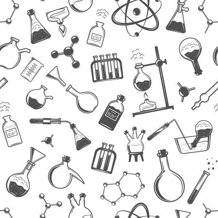 Chemistry seamless pattern with formulas and laboratory equipment. Science background
