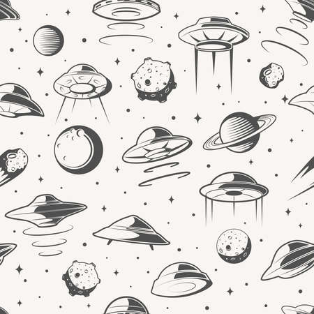 Seamless pattern. Space, UFO and planet background. Explore mission in space