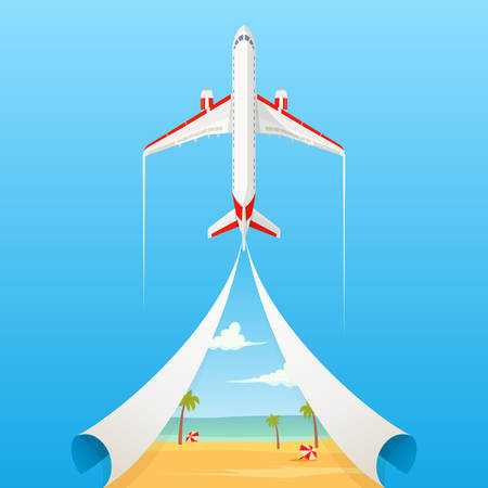 Flat banner on the theme of travel by airplane, vacation, adventure. Private airlines, transportation. A flying plane