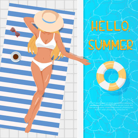 Woman in hat sunbathing on the beach towel near the swimming pool. Summer vacation concept. Top view of young blonde girl in white swimsuit sunbathing beside water pool