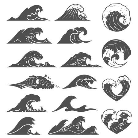 Ocean waves collection. Sea storm wave isolated. Waves, water elements set. Nature wave water storm linear style illustration Illustration