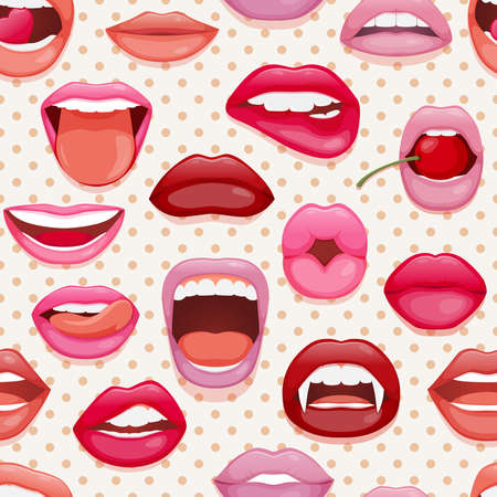Seamless pattern with womans lips. Glossy smiling mouth that kiss and show tongue, teeth. Vector illustration