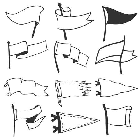 Set of 12 pennants. Retro monochrome labels. Hand drawn wanderlust style. Pennant travel flags design. Vector illustration. Ilustração