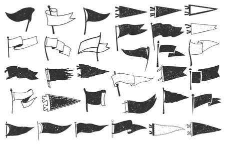 Set of textured pennants. Retro monochrome labels. Hand drawn wanderlust style. Pennant flags design. Vector illustration.