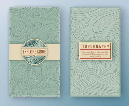 Two abstract retro vertical banners with map pattern and copy space frames. Topographic map travel vector background. Map pattern with mountain texture and grid Ilustração