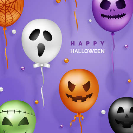 Halloween 3D Vector Balloons Background. Scary Air Balloons in Traditional Colors. Halloween Ghost Balloons