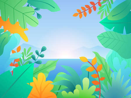 Landscape with leaves and plants. Floral background with sea, hills and sunset. Tropical vector background with palm leaves Ilustração