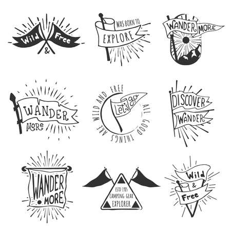 Set of adventure and outdoors flag emblems. Retro monochrome labels with light rays. Hand drawn wanderlust style. Pennant travel flags design. Logo templates