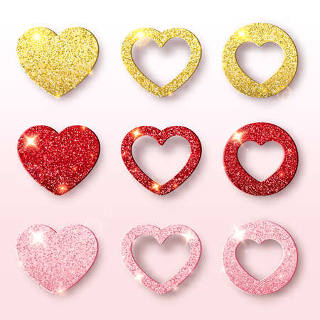 Valentines day holiday vector collection. Set of glitter heart shapes. Festive decorations bright glitter placer. Romantic scene