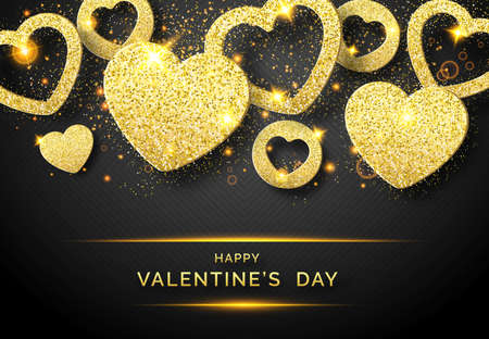 Valentines Day vector background with shining golden heart and confetti. Holiday card illustration on black background. Sparkling golden hearts with glitter texture