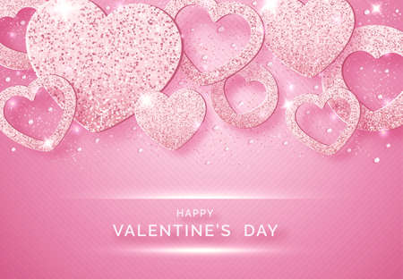 Valentines Day horizontal vector background with shining pink hearts, balls and confetti. Holiday card illustration on pink background. Sparkling hearts with glitter texture Illustration