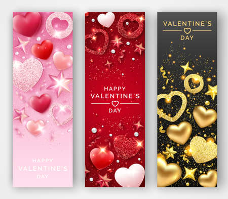 Three Valentines Day vertical vector banners with shining hearts, ribbons, stars and colorful balls. Holiday card illustration on light and dark backgrounds