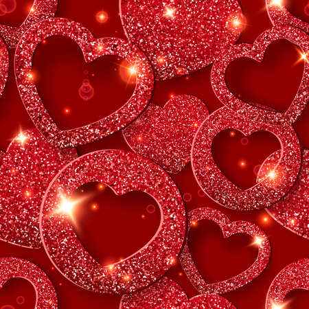 Valentines Day seamless pattern with shining hearts. Holiday vector card illustration on red background