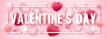 Valentines Day horizontal vector banner with shining pink hearts, ribbons, stars and colorful balls. Holiday card illustration on light background Illustration