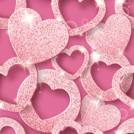 Valentines Day seamless pattern with shining hearts. Holiday vector card illustration on pink background Illustration